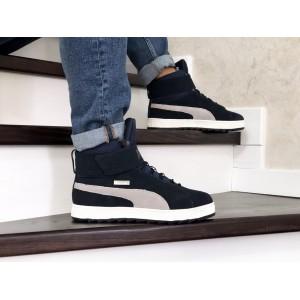 Высокие зимние кроссовки Puma,темно синие с белым,на меху