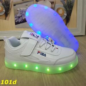 Детские кроссовки белые фила светящиеся с подсветкой Led 27-32р