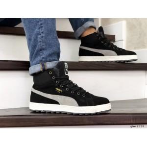 Высокие зимние замшевые кроссовки Puma Suede,черные с серым