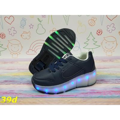 Кроссовки хилисы темно-синие с подсветкой светящиеся Led с роликом
