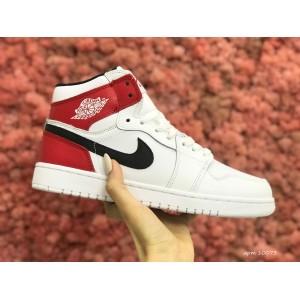 Высокие зимние подростковые кроссовки Nike Air Jordan 1 Retro,белые с красным