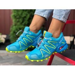 Женские, подростковые кроссовки Salomon Speedcross 3,бирюзовые,кроссовки для бега