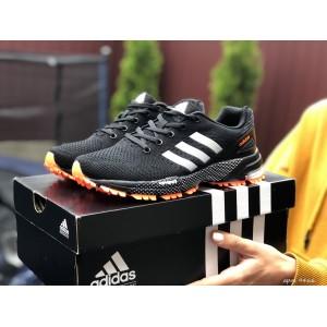 Подростковые (женские) летние кроссовки Adidas Marathon,черные с оранжевым