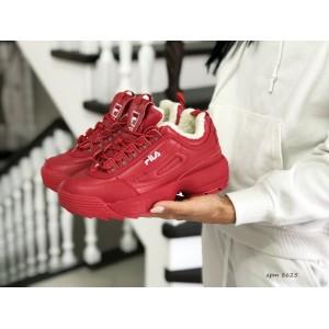 Модные женские зимние кроссовки Fila,красные (2019)