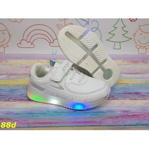 Детские белые кроссовки аирмаксы светящиеся Led подсветка 26-31р