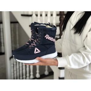 Высокие женские зимние ботинки Reebok,темно синие с розовым