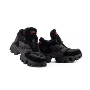 Женские ботинки замшевые зимние черные Road-style БС-121-01Z