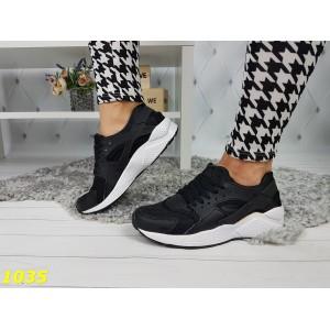 Кроссовки хуарачи черные на белой подошве