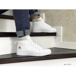 Мужские высокие кроссовки (термо) Converse All Star, белые 42,44р