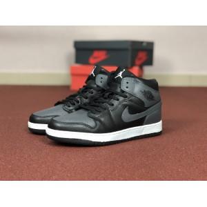 Мужские кроссовки Nike Air Jordan 1 Retro,серые с черным