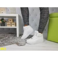 Кроссовки сникерсы форсы высокие на толстой подошве белые
