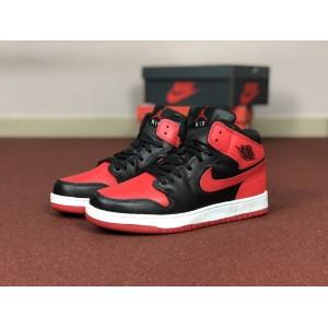 Мужские кроссовки Nike Air Jordan 1 Retro,красные с черным