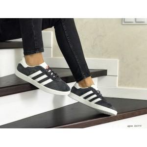 Женские замшевые кроссовки Adidas Gazelle,серые с белым
