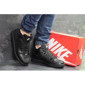 Высокие зимние кроссовки Nike Jordan,кожаные,черные