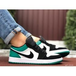 Мужские демисезонные кроссовки Nike Air Jordan 1 Retro,белые с зеленым