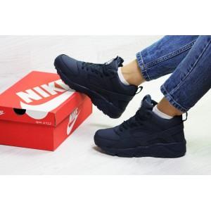 Подростковые зимние кроссовки Nike Huarache,синие,на меху