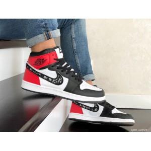 Кроссовки Nike Air Jordan Dior, черно белые с красным.