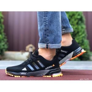 Мужские летние кроссовки Adidas Marathon TR 26,сетка,черные с оранжевым