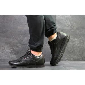 Мужские кроссовки Reebok,кожаные,черные, большие размерые 46,47,48