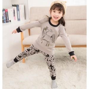 Пижама для девочки Gray unicorn Baobaby
