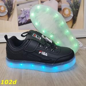 Детские кроссовки чёрные фила светящиеся с подсветкой Led 27-32р