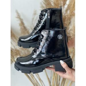 Женские ботинки кожаные зимние черные Best Vak БЖ32-01L