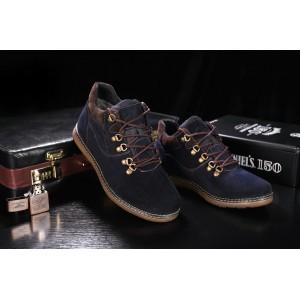 Ботинки Yuves 600 (Clarks) (зима, мужские, замша, синий)