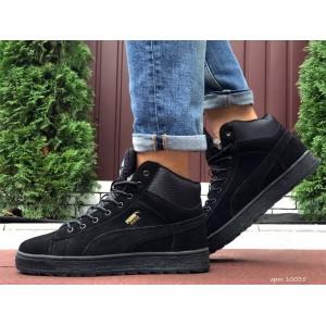 Высокие зимние кроссовки Puma Suede замшевые,черные