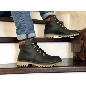 Мужские зимние кожаные ботинки Timberland,Тимберленд,на меху,черные