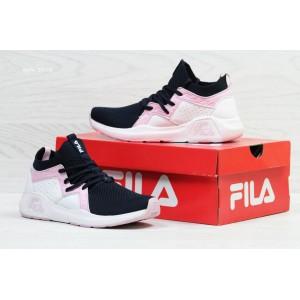Высокие летние кроссовки Fila,белый/синий/розовый (реплика)
