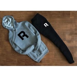 """Трикотажный костюм REEBOK серый свитшот с капюшоном (буква) """""""" В стиле Reebok """""""" 1270"""