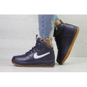 Зимние высокие кроссовки Nike Air Force LF- 1,фиолетовые