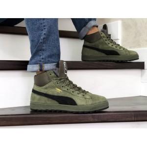 Высокие зимние кроссовки Puma Suede замшевые,темно зеленые,на меху