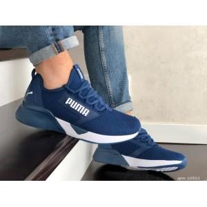 Весенние мужские кроссовки Puma,текстиль,синие с белым