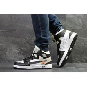 Мужские высокие зимние кроссовки Nike Air Jordan 1 Retro,черно белые 43,44р