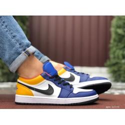 Мужские демисезонные кроссовки Nike Air Jordan 1 Retro,белые с желтым/синим
