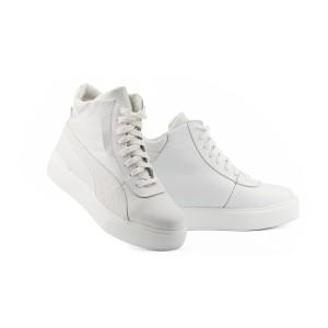 Женские ботинки кожаные зимние белые Yuves 112