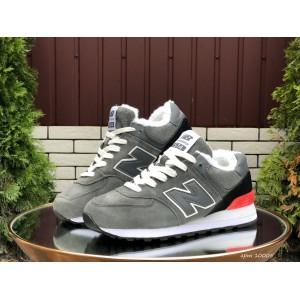 Зимние подростковые кроссовки New Balance 574,замшевые,серые с красным