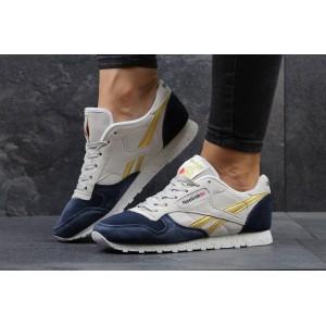 Женские кроссовки Reebok Classica,замшевые синие с бежевым