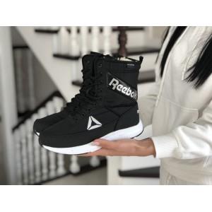Высокие женские зимние ботинки Reebok,черно белый
