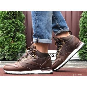 Высокие кожаные зимние кроссовки Reebok,коричневые