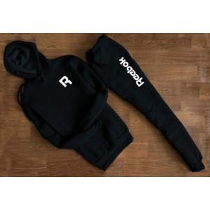 """Черный трикотажный костюм REEBOK R с капюшоном (буква) """""""" В стиле Reebok """" 1258"""