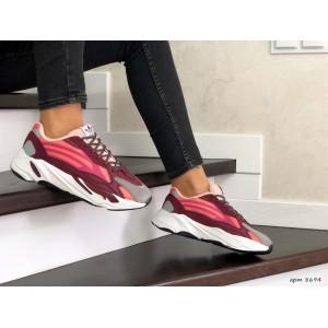 Женские (подростковые) кроссовки Adidas Yeezy Boost 700,бордовые
