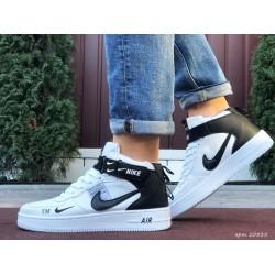Мужские высокие кожаные кроссовки Nike Air Force White (белые)