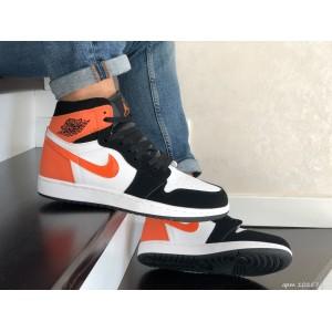 Кроссовки Nike Air Jordan,белые с оранжевым.