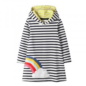 Платье с капюшоном для девочки Радуга и облачко Jumping Meters