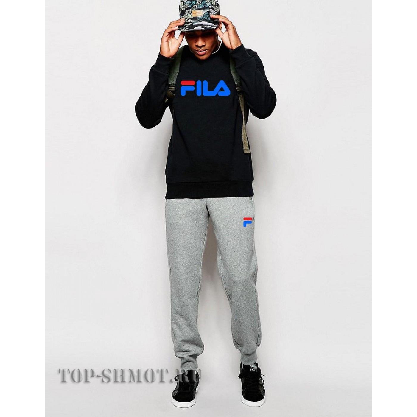 bd09cff5 Купить Спортивный костюм FILA ( BLACK ) Синиее лого