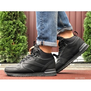 Высокие кожаные зимние кроссовки Reebok,черные с коричневым