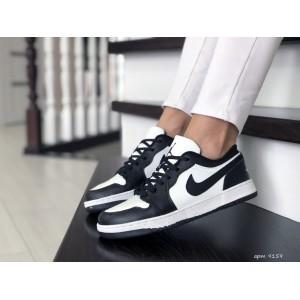 Женские кроссовки Nike Air Jordan 1 Low ,белые с черным