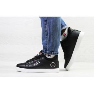 Подоростковые зимние кроссовки Fila,черно-белые на меху